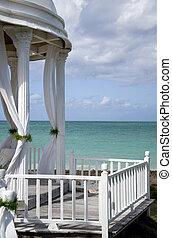 tropische , altaar, trouwfeest