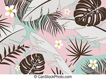 tropische , blätter, vektor, hintergrund, abbildung