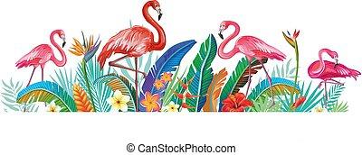 tropische blumen, flamingos