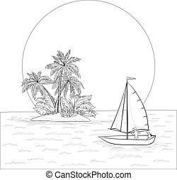 tropische , boot, konturen, segeln, meer