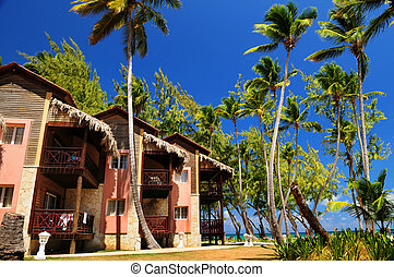 tropische , cluburlaub, auf, wasserlandschaft, ufer