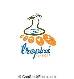 tropische , cluburlaub, vektor, design, schablone