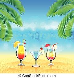 tropische , cocktails, zee palmen, achtergrond