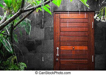 tropische , door deur, regen, aanzicht