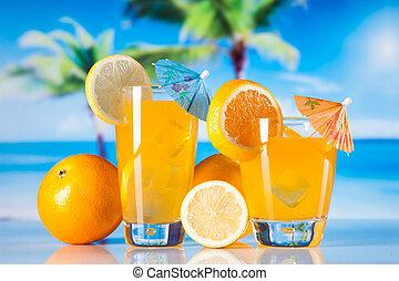 tropische dranken, op, strand