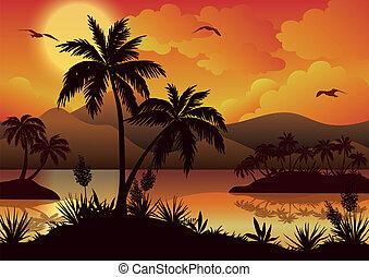 tropische , eilanden, palmen, bloemen, en, vogels