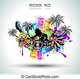 tropische , feestje, flyer, muziek, disco