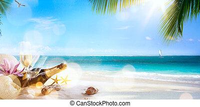 tropische , feestje, honeymoon, kunst, strand