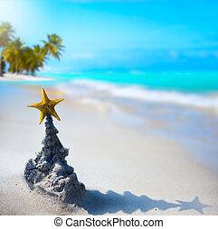 tropische , feiertag, kunst, weihnachten