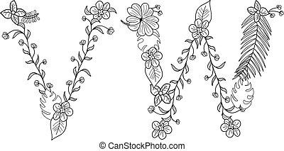 tropische , floral, brief, v