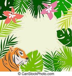 tropische , frame, bladeren, tiger, vector, bloemen