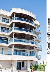 tropische , gebouw, rijhuis, balkons