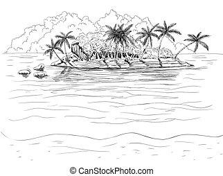 tropische , gezeichnet, island., hand