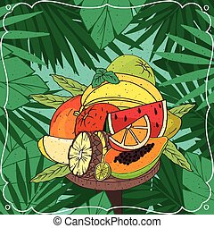 tropische , groß, verschieden, haufen , früchte
