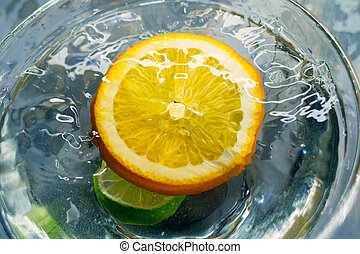tropische , groot, vruchten, water, gespetter, onder, sinaasappel, deeply, herfst