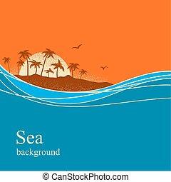 tropische , hintergrund, ocean winkt, island., vektor