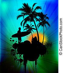 tropische , hintergrund, surfer