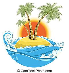 tropische , island.vector, farbe, symbol, wasserlandschaft, mit, sonne, freigestellt, weiß, hintergrund