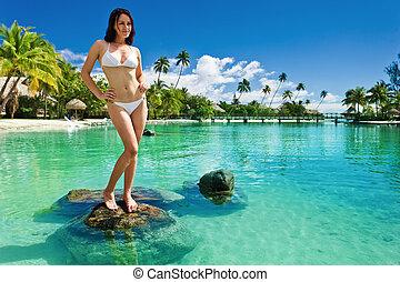 tropische , junger, weißer bikini, sandstrand, frauenansehen