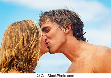 tropische , küssende , paar, sandstrand, junger