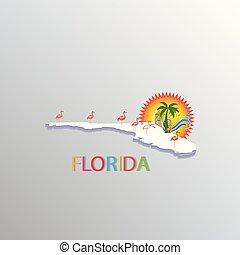 tropische , landkarte, symbol, florida
