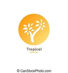 tropische , logo, handfläche
