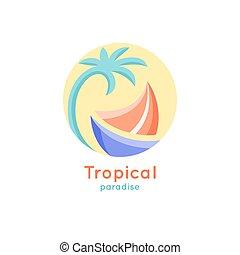 tropische , logo, schiff