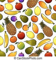 tropische , model, seamless, rijp, vruchten