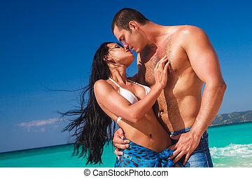 tropische , paar, sandstrand, junger, mögen