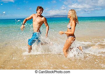 tropische , paar, sandstrand, junger