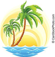 tropische , palm, met, zee, golf, op, zonnig, achtergrond