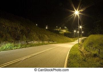 tropische , plattelandsweg, nacht