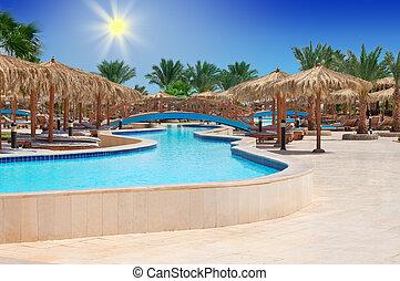 tropische , pool, zwemmen