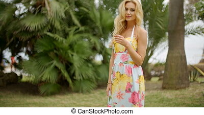 tropische , porträt, frau, ort, blond