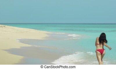 tropische , rennende , strand, newlyweds