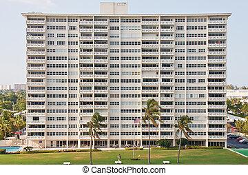 tropische , reusachtig, witte , gebouw, rijhuis
