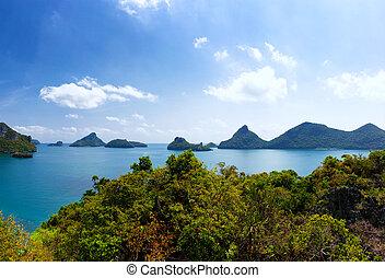 tropische , samui, ang, luchtopnames, thong, natuur, eiland, nationaal park, ko, archipel, panoramisch, zee, thailand, overzicht., marinier