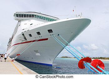 tropische , schiff, an, hafen