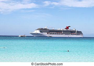 tropische , schiff, und, sandstrand