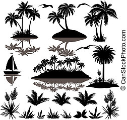 tropische , silhouetten, satz, handflächen
