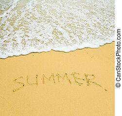 tropische , sommer, geschrieben, sandstrand, sandig