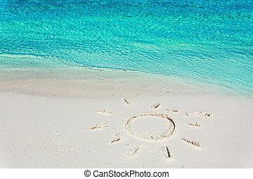 tropische , sonne, bild, setzen sand strand