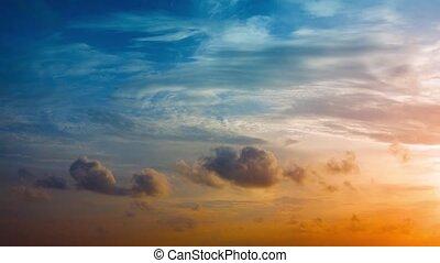 tropische, Sonnenuntergang, aufgedunsen, wolkenhimmel, bunte