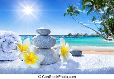 tropische , spa, strand, behandeling