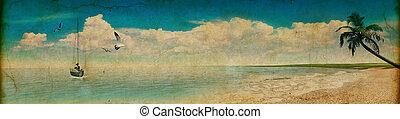 tropische , stijl, strand, retro