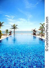 tropische , teich, schwimmender