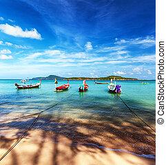 tropische , thailand, sandstrand, landschaftsbild, exotische