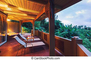 tropische , thuis, ondergaande zon , romantische, dek