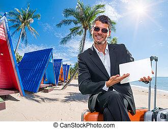 tropische , vakantiepark, man, zakelijk, koffer