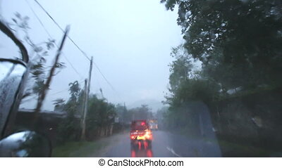 tropische , vervoer, rain., road.